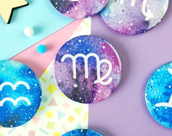 Star Sign Badge. Astrology Badge Pin. Zodiac Signs. Zodiac Pin Badge. Zodiac Pin. Celestial Badge. Galaxy Badge. Aries. Gemini. Leo. Pisces.