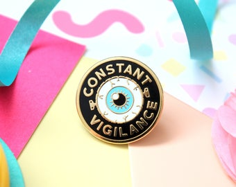 Constant Vigilance Enamel Pin. Enamel Pin. Book Pin. Witchcraft and Wizardry. Book Lover. Bookworm. Literary Pin. Bookish Pin. Magic Pin.
