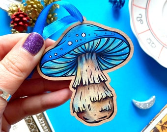 Blue Mushroom Wooden Hanging Decoration. Wooden Christmas Decoration. Fungi Christmas Decor. Mushroom Christmas Ornament. Laser Cut Mushroom