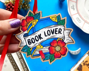 Book Lover Christmas Decoration. Book Lover Tree Decoration. Literary Wooden Christmas Decoration. Cherry Wood Tree Hanging Decoration.