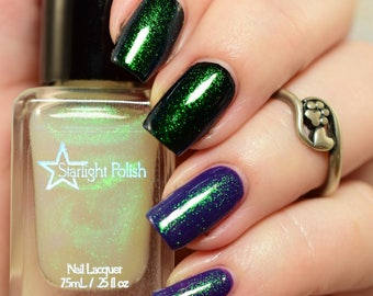 Unicorn Top Coat - Green to Blue Color Shifting Shimmer, Duochrome Polish, Indie Nail Lacquer, Liquid Euphoria, Starlight and Sparkles