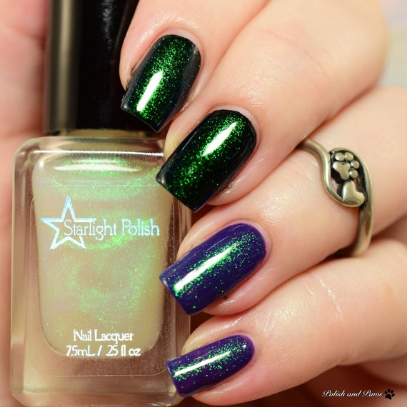 Unicorn Duochrome Color Shifting Top Coat Shimmer Green to | Etsy
