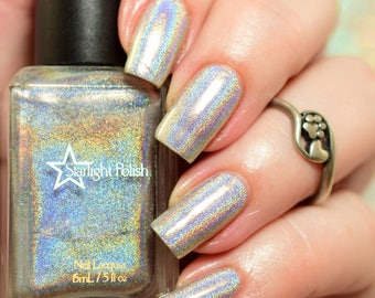 Starbright Top Coat - Holographic Silver, Winter Holodays, Holo Rainbow Polish, Indie Nail Lacquer, Starlight and Sparkles