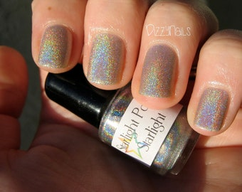 Starlight Top Coat - Holographic Silver Linear Holo Topper, Indie Nail Lacquer, Effect Polish, Rainbow, Starlight and Sparkles