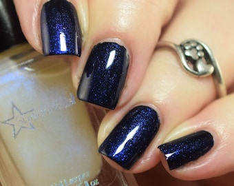 Phantom Top Coat - Color Shifting Blue to Purple Shimmer, Duochrome Polish, Indie Nail Lacquer, Mythological, Starlight and Sparkles