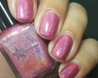 Love Potion Pink Holographic Rose Romance Cool Holo Indie Nail Lacquer Starlight Polish