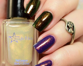 Dragon Top Coat - Gold to Green  Color Shifting Shimmer, Duochrome Polish, Indie Nail Lacquer, Liquid Euphoria, Starlight and Sparkles