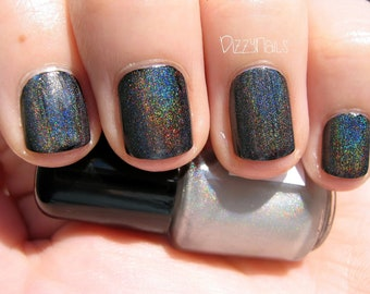 Starshine Top Coat - Holographic Silver Linear Polish, Holo Effect Topper, Indie Nail Lacquer, Layering, Rainbow, Starlight and Sparkles