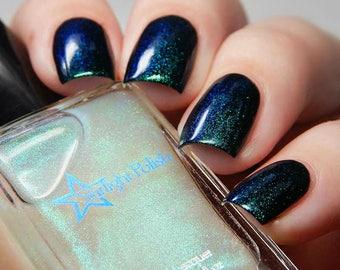 Kelpie Top Coat - Teal to Violet Shimmer, Color Shifting Duochrome Polish, Indie Nail Lacquer, Mythological, Starlight and Sparkles