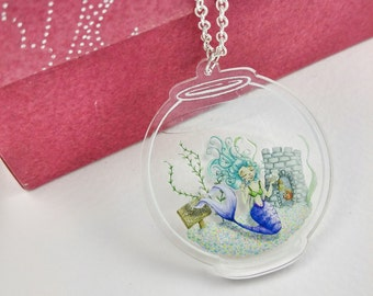 Mermaid Fishbowl Necklace Clear Acrylic Pendant Silver or Antique Gold Chain