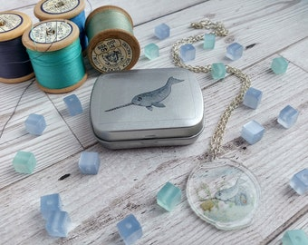 Narwhal Clear Acrylic Charm Necklace and Illustrated Tin Gift Set for Marine Biologist Sea and Ocean Lovers