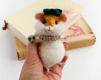 Hamlet Shakespeare Hamster Needle Felted Animal Shakespearean Doll Literary gifts Graduation Gift