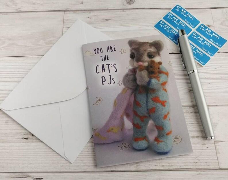 Cat Card Cat's Pyjamas Stationery Needle Felted Kitty image 0