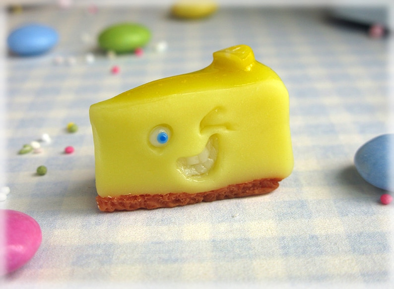 Lemon Cheesecake Magnet Polymer Clay Cheese Cake Cheesy image 0
