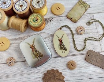 Mothman Necklace and Tin Gift Set - Illustrated Moth Wooden Charm and Pocket Tin