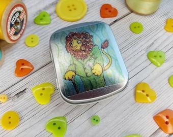 Dandy Lion Trinket Tin Dandelion Illustration Decal on Mini Pocket Sized Aluminium Hinged Box