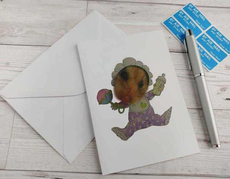 Baby Hamster Card Birthday Greetings Dress Up Humour Cute Pet image 0