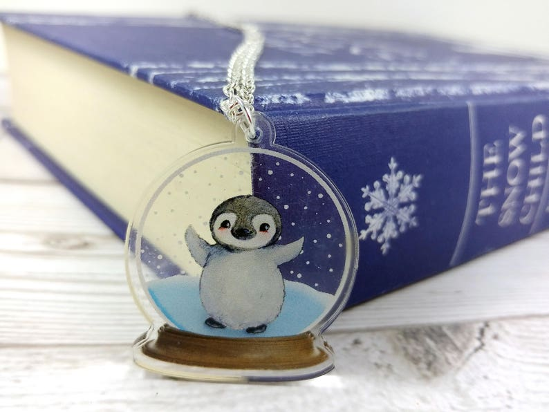 Penguin Snowglobe Clear Acrylic Pendant Silver Plated or image 0