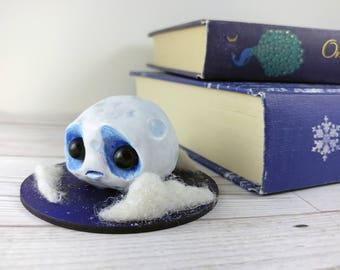 Moon Man Model Whimsical Art Creepy Cute Celestial Moonman Ornament Home Decor OOAK Art Doll