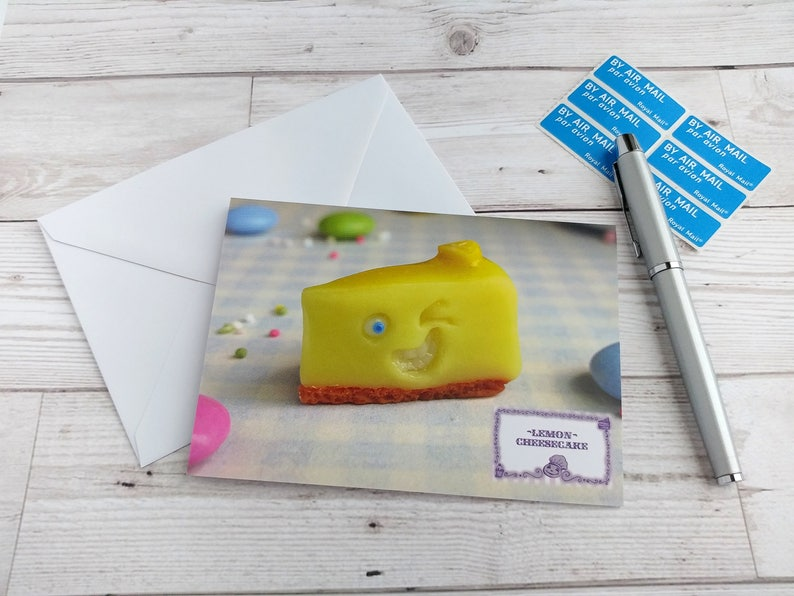 Birthday Card Cake Greetings Lemon Cheesecake Notelet Fun Cute image 0