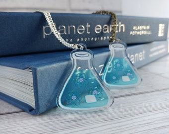 Conical Flask Atom Necklace Clear Acrylic Erlenmeyer Flask Scientist Geeky Pendant