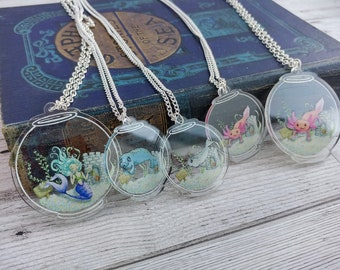 Fishbowl Necklace Choose Two Bundle Deal Clear Acrylic Charm Ocean Jewellery for a Marine Lover Axolotl Narwhal Manatee Mermaid options