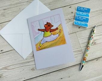 Ballet Bear Card Dancing Ballerina Birthday Congratulations Greetings Stationery