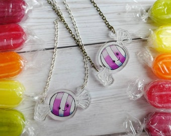 Candy Necklace Clear Acrylic Charm Sweet Kawaii Clothing Harajuku Sweetie Plastic Pendant Confectionery jewellery Silver or Antique Gold