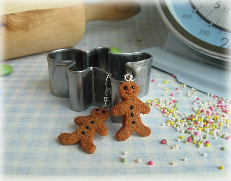 Gingerbread Men Earrings Polymer Clay Fimo Food Ginger Bread image 0
