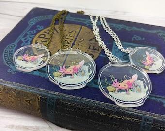 Axolotl Fishbowl Necklace Clear Acrylic Charm Pendant Illustration Jewelry Geek Jewellery Girlfriend Gift