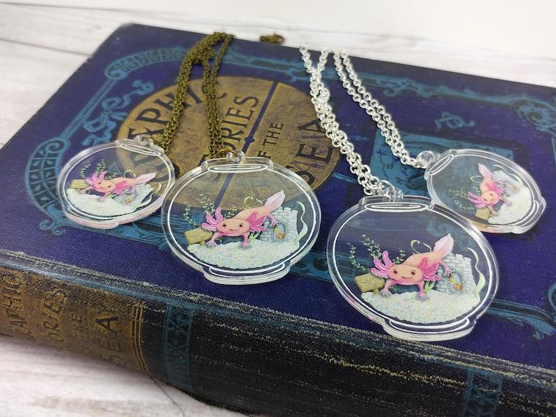 Axolotl Fishbowl Necklace Clear Acrylic Charm Pendant image 0