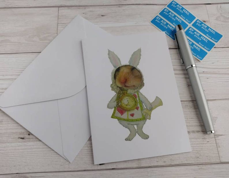 White Rabbit Hamster Card Birthday Greetings Alice in image 0