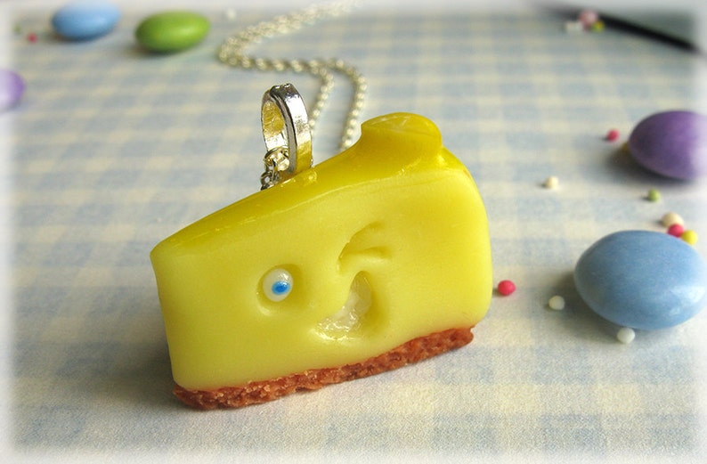 Lemon Cheesecake Necklace Polymer Clay Cheese Cake Cheesy Grin image 0