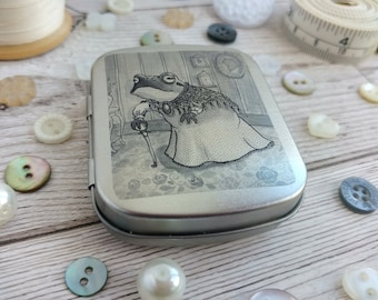 Grandma Toad Tin Old Lady Frog Granny Black and White Monochrome Ink Illustration Printed Decal on Hinged Metal Pocket Sized Little Box