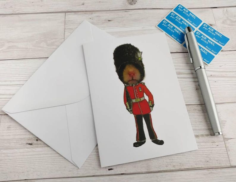 Soldier Hamster Card Queens Grenadier Guard Birthday Greetings image 0