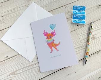 Axolotl Card Cute Character Birthday Greeting Blank Notelet