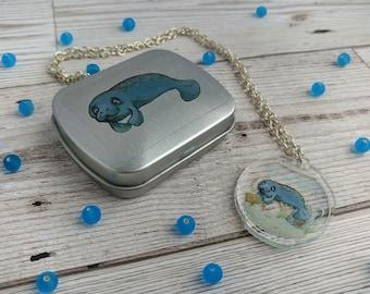 Manatee Gift Set Illustrated Clear Acrylic Pendant and Pocket Sized Trinket Tin