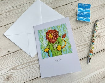Dandy Lion Card Dandelion Illustration Greetings Card Blank Inside for Any Occasion