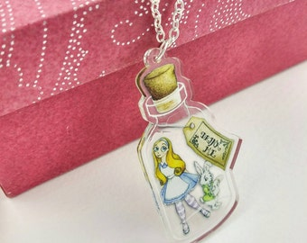 Alice in Wonderland Necklace Drink Me Bottle White Rabbit Clear Acrylic Charm Pendant Brass tone Silver Chain Literary Gift for Book Lover