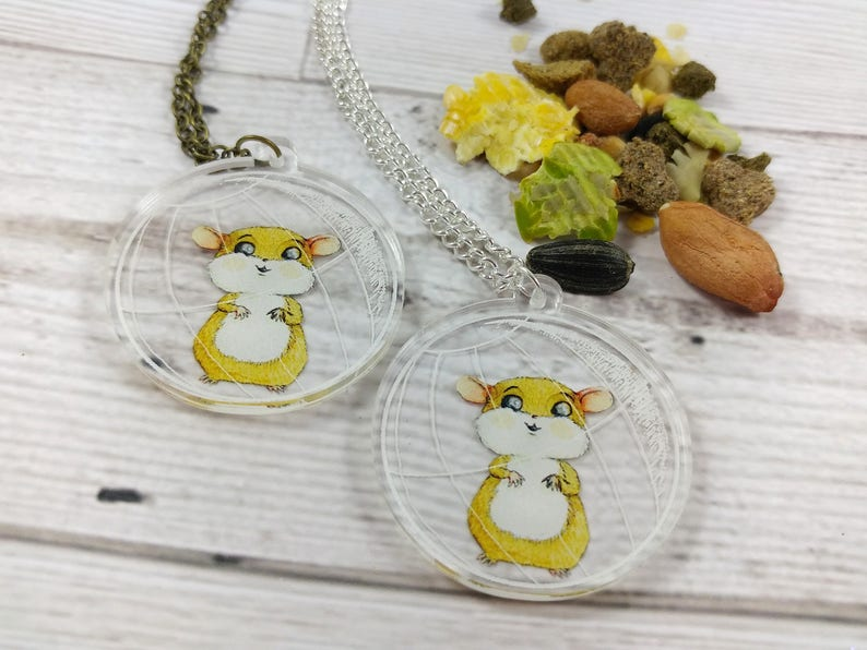 Hamster ball Pendant Silver or Antique Gold Chain image 0