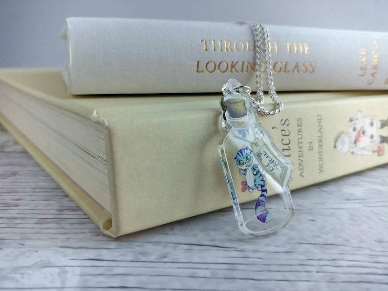 Cheshire Cat Necklace Acrylic Alice in Wonderland Bottle image 0