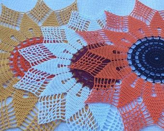 Sunflower doily red, white, yellow