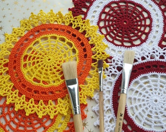 Crochet web doilies