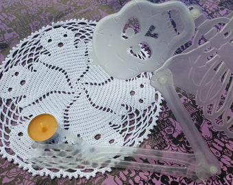 Ghost lace doily Halloween decor Ghosts round Crochet doily