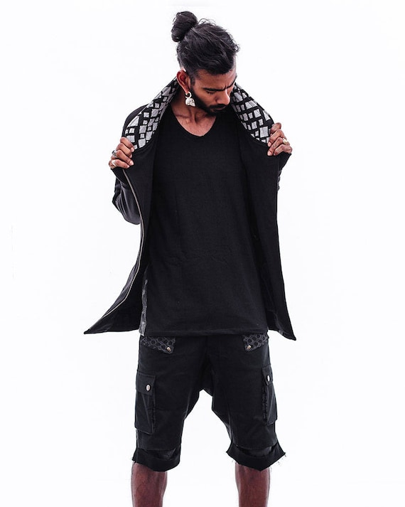 Fleece Boho men Jacket for Sweater Men's Clothing Jacket Men's Sleeves Men's Long Cardigan Urban Jacket Black Jacket Men's Style Boho wXxIznqH8