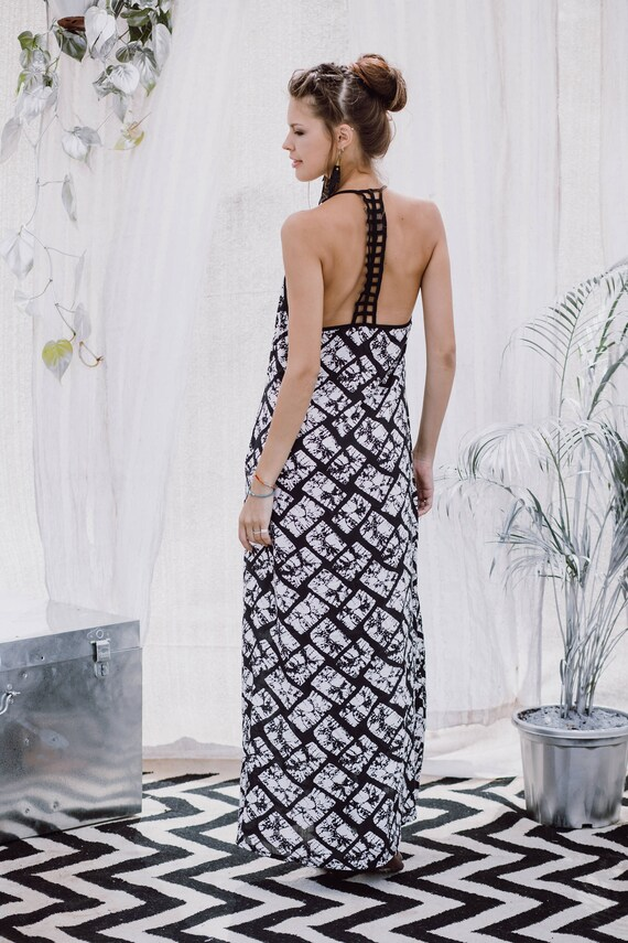 Long Boho Printed Dress Dress Women's Back Maxi Dress Oversized Boho Dress Dress Clothing Dress Dress Loose Bohemian Open Dress wxI8AqS8