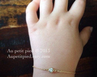 Gold baby bracelet - birthstone bracelet - baby boy gift- baby Girl gift- newborn bracelet - baptism gift- christening gift- baby jewelry