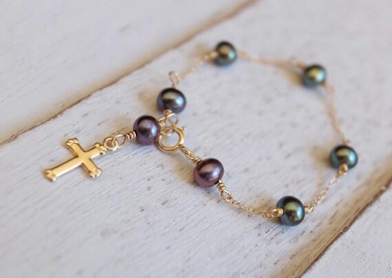 Perle Taufe Armband Gold Kreuz Baby Armband Gold Taufe Schmuck Perle Armband Patenkind Geschenk Baby Mädchen Geschenk Kreuz Schmuck
