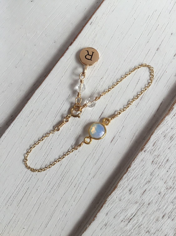 Personalized Baby Bracelet Opal Birthstone Jewelry Initial
