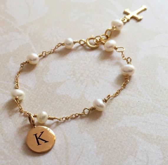Gold Baby Armband Gold Kreuz Baby Armband Gold Taufe Schmuck Perlen Armband Patenkind Geschenk Baby Baby Kreuz Schmuck